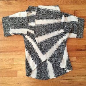 Express Open Drape Striped Wool Sweater